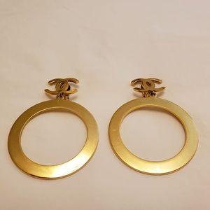 Chanel rare vintage plated CC hoop earrings